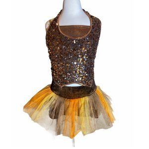 Dance Costume Gold Sequin 3 Piece Size CL